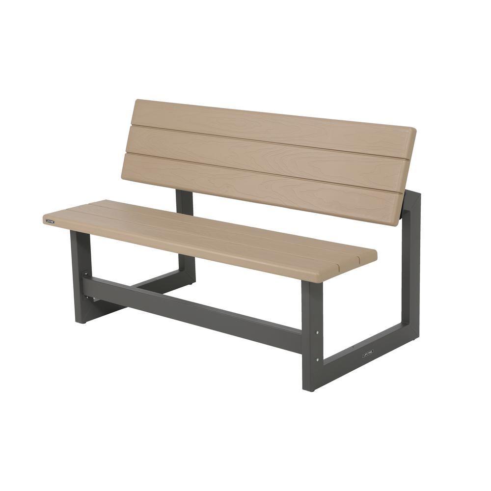 Lifetime Heather Beige Convertible Patio Bench