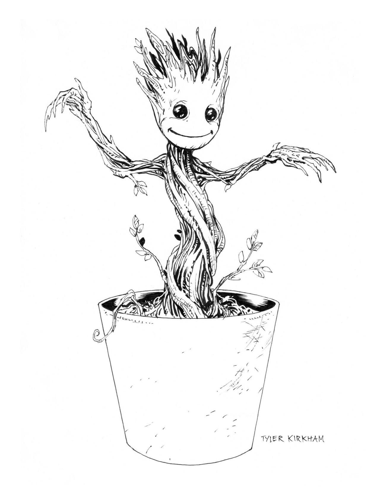 Baby Groot by Tyler Kirkham Tumblr Baby groot drawing