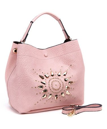 Love this Pink Stud Hobo & Crossbody Bag on #zulily! #zulilyfinds