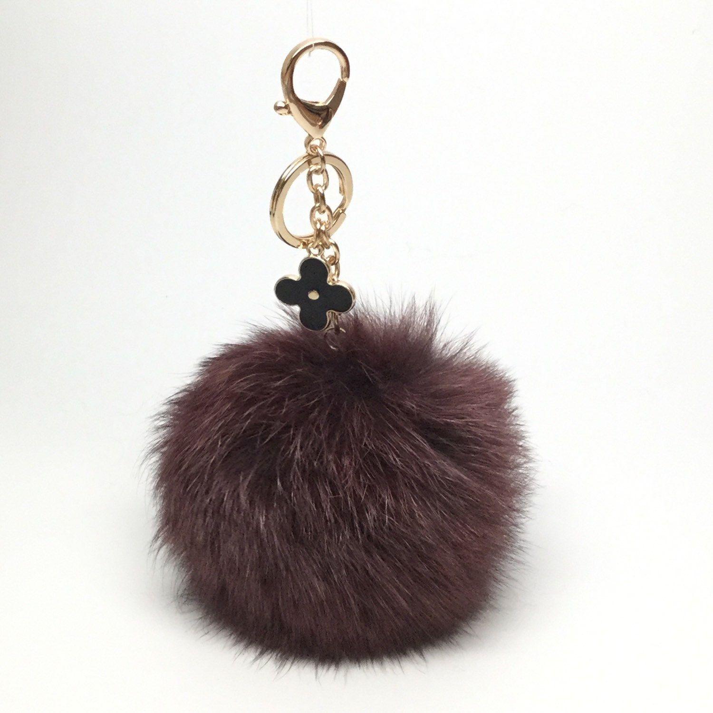 Chocolate fox fur Pompon bag charm pendant Fur Pom Pom keychain keyring  with flower charm 84cc7c681