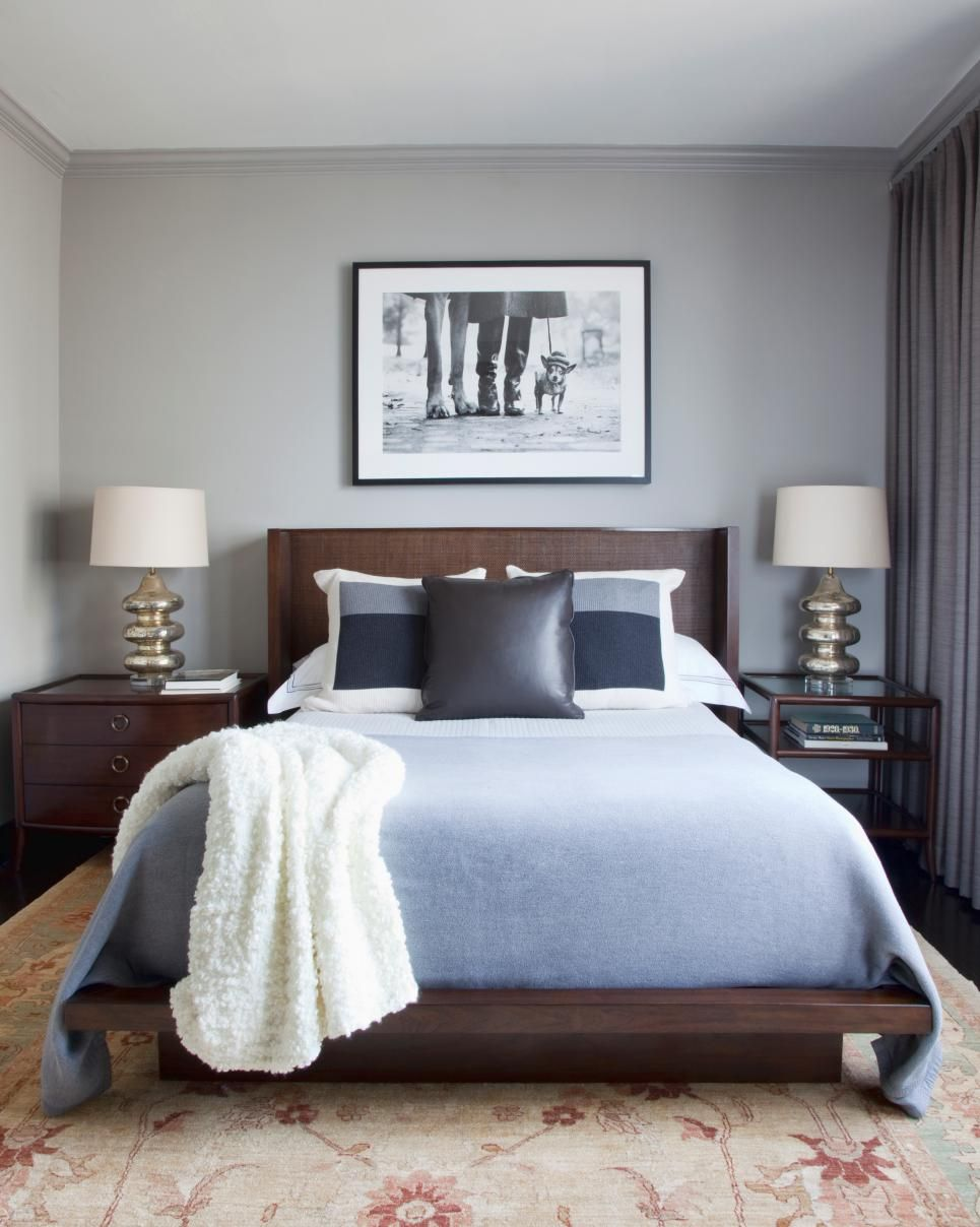 Transitional Gray Bedroom Features Soft Blue Bedding Luxury Bedroom Master Dark Wood Bedroom Furniture Bedroom Design