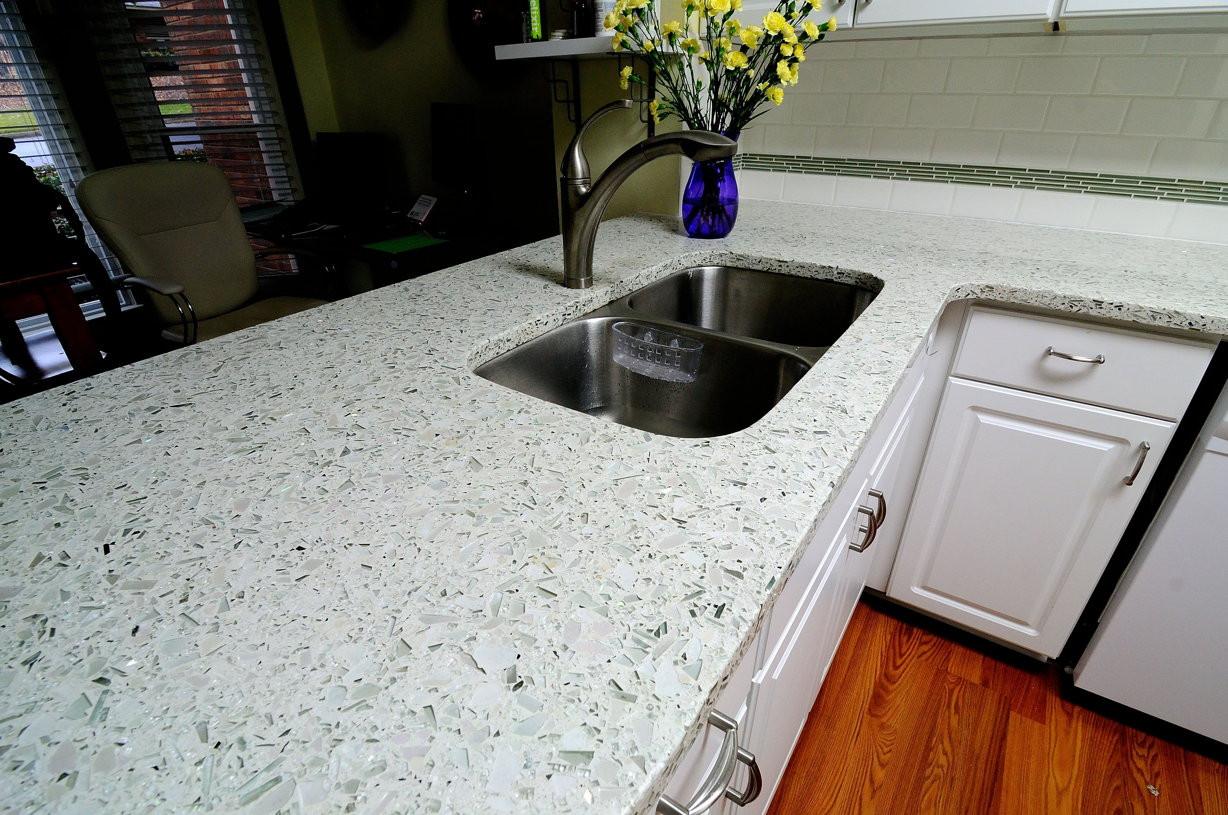 Vetrazzo cubist clear recycled glass countertop by for Glass kitchen countertops