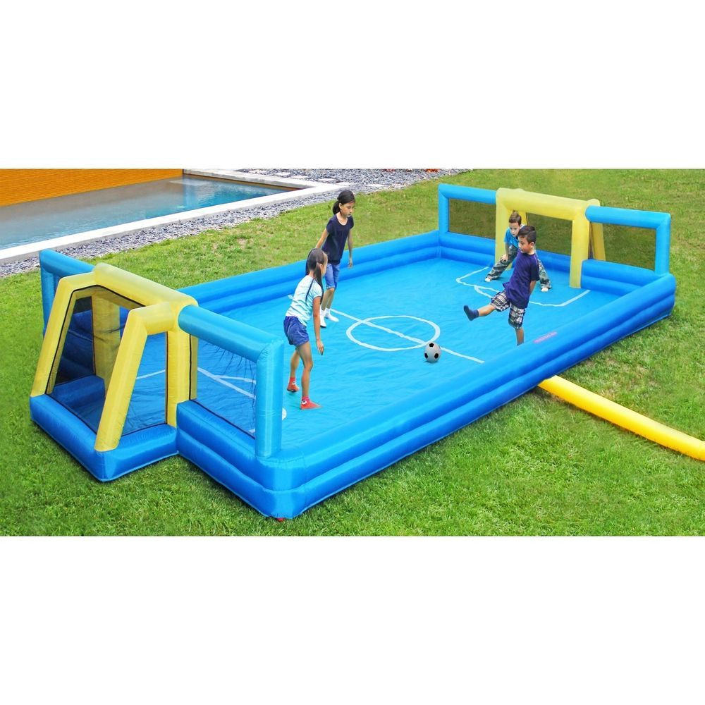 inflatable soccer court outdoor backyard cookout kids activity