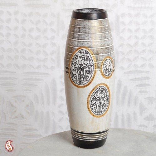 Rustic Finish Terracotta Floral Vase With Warli Painting