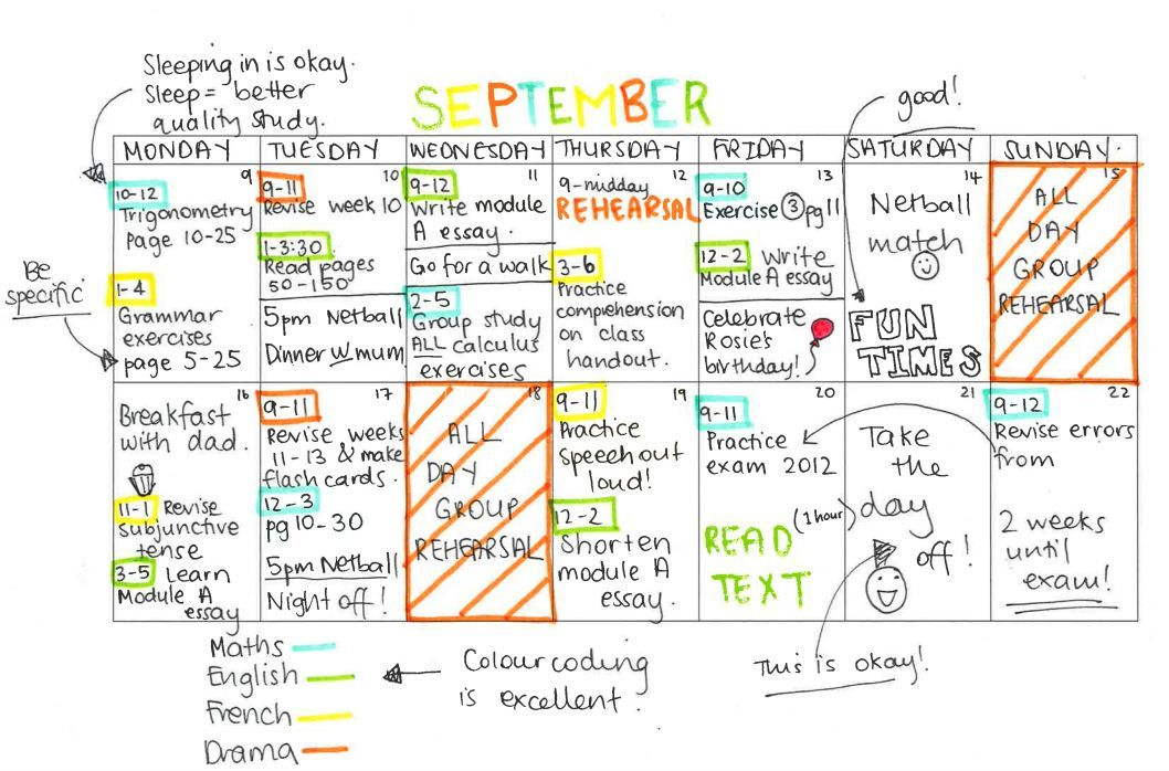 What an awesome study timetable should look like college for Time design planner