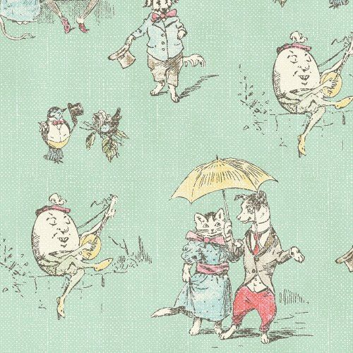 Clothworks Fabric Nursery Rhymes Turquoise Toile 100 Cotton