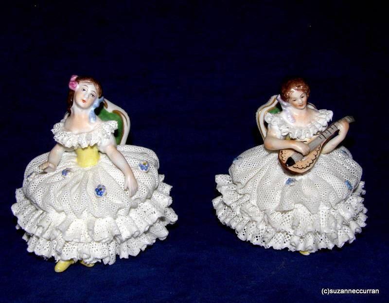 Oldest Volkstedt Dresden Lace Lady Dancer Mandolin Player Figurine Pair Minis