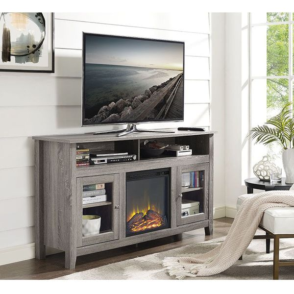 58 Inch Driftwood Wood Highboy Fireplace TV Stand