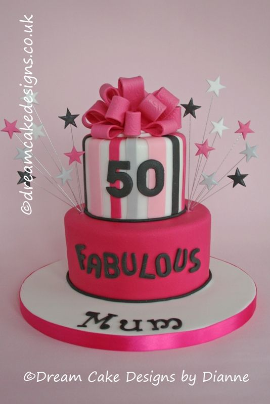 Art Deco Style Black White Grey And Red 50th Birthday Cake