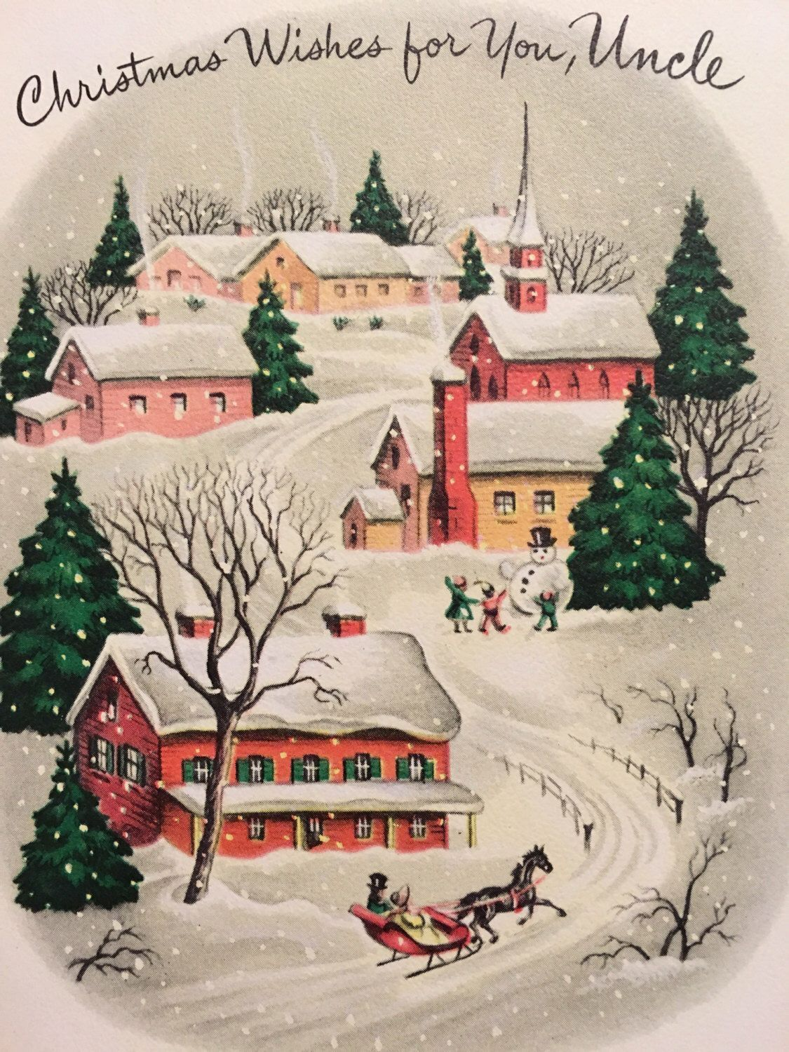 Vintage Snowy Village Christmas Card ~ Coral & Peach Accents ...