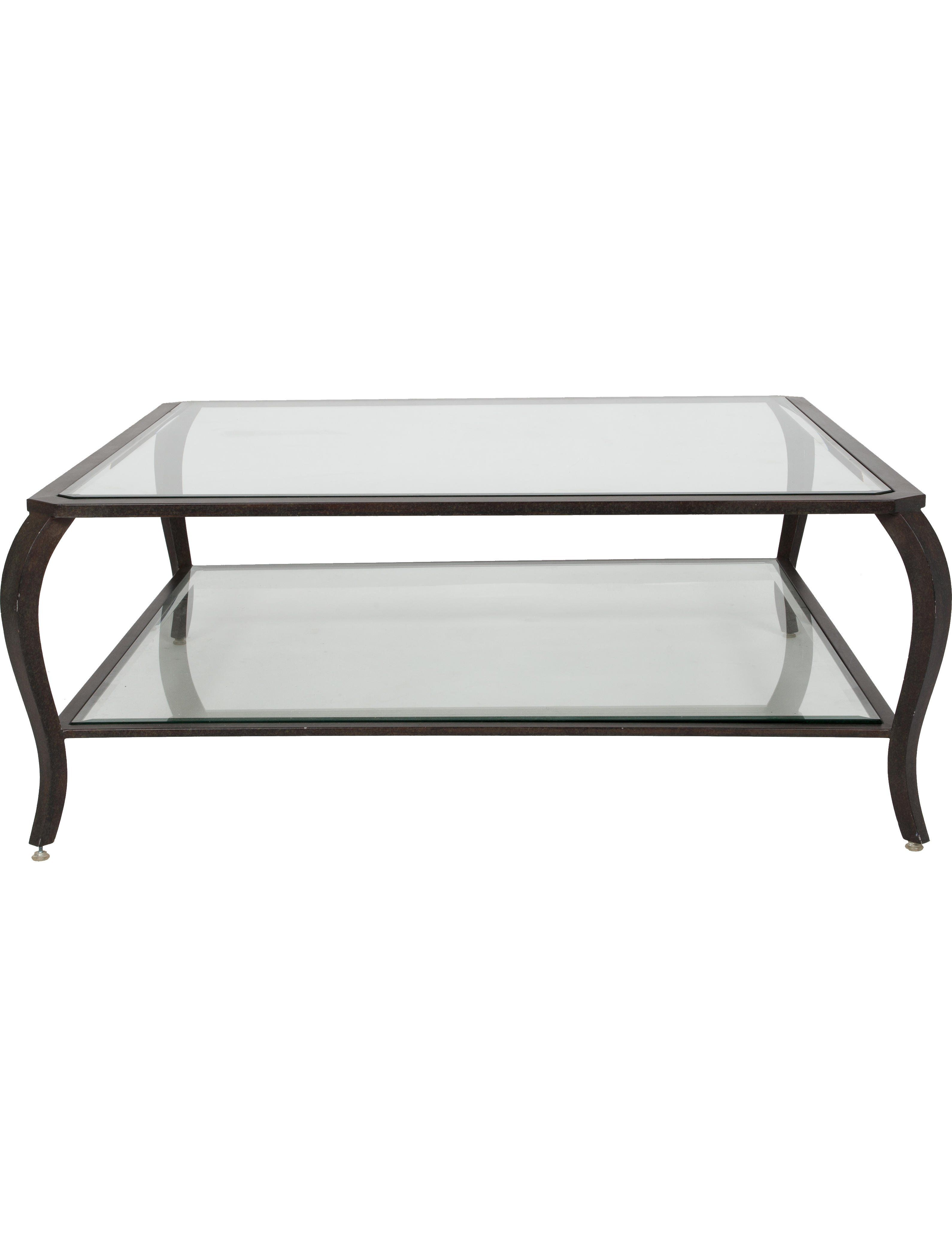 Black Metal And Clear Tiered Glass Coffee Table With Beveled Glass Panel At Center And Curved Legs For Our Oversize Art Coffee Table Home Coffee Tables Table [ 4195 x 3180 Pixel ]