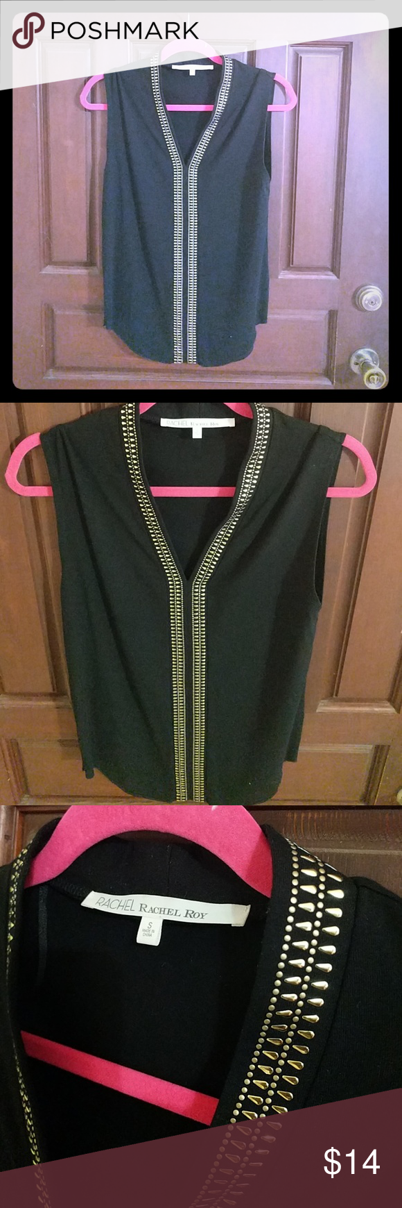Rachel Roy Black and Gold top Rachel Roy!! Black sleeveless top size small with gold details! Comment any questions I'll be happy to answer. Happy Poshing! RACHEL Rachel Roy Tops