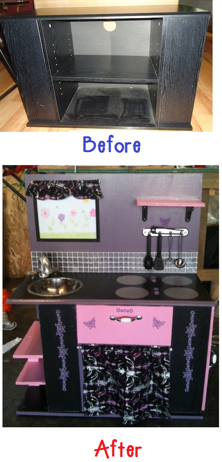 TV Stand turned into a kids play kitchen that I did myself :)  Such a GREAT idea!