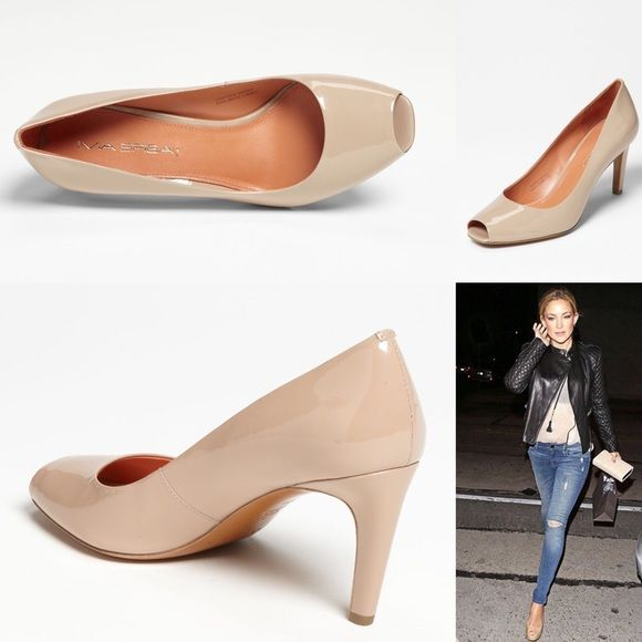 NWOT Nude Leather Via Spiga Peep-Toe Pumps Nude Leather Via Spiga Peep-Toe Pumps with Peach color on the inside. Would fit a 9.5 as well, as they are a little tight for me and I'm a 10/10.5 depending on the brand. truly a beautiful pair of shoes! Will come without box. Via Spiga Shoes Heels
