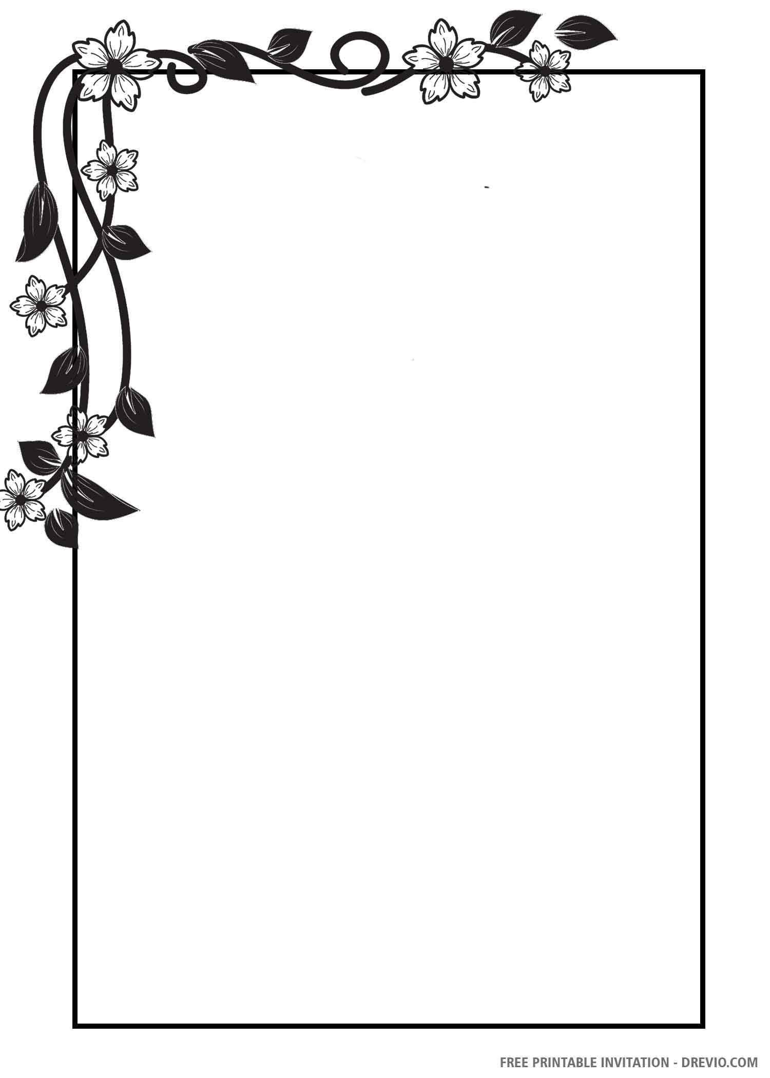 Free Printable Black And White Floral Wedding Invitation Templates Wedding Invitation Templates Floral Wedding Invitations Free Printable Birthday Invitations