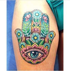 Hamsa Mano De Fátima Color Tat Tatuaje Hamsa Tatuajes