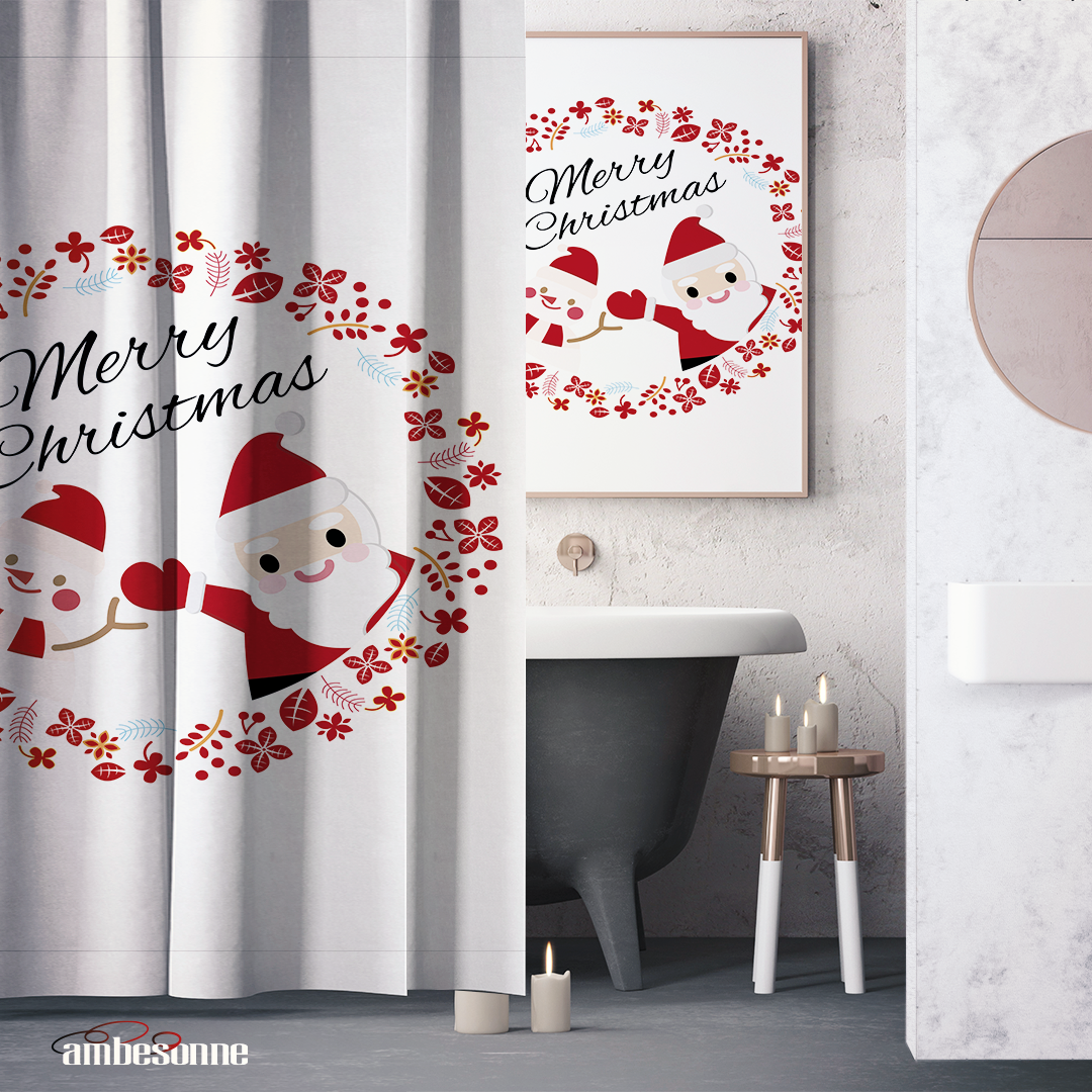 Santa Claus Shower Curtains For Christmas Ambesonne