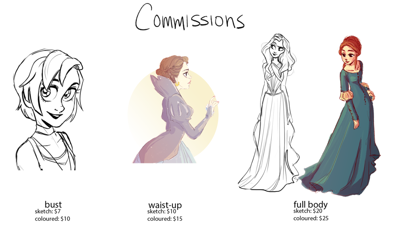 Commission time! I'm only going to do a few for the next week so if you're interested just send me an e-mail at miranda.sketch@gmail.com :)