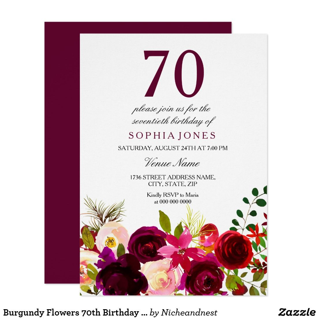 Burgundy flowers 70th birthday party invitation happy birthday burgundy flowers 70th birthday party invitation burgundy flowers 70th birthday party invitation matching collection in niche and nest store izmirmasajfo