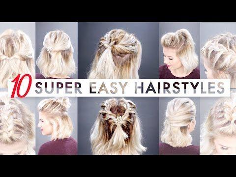 10 Easy Half Up Hairstyles For Short Hair Milabu Youtube Short Hair Tutorial Short Hair Diy Half Up Hair