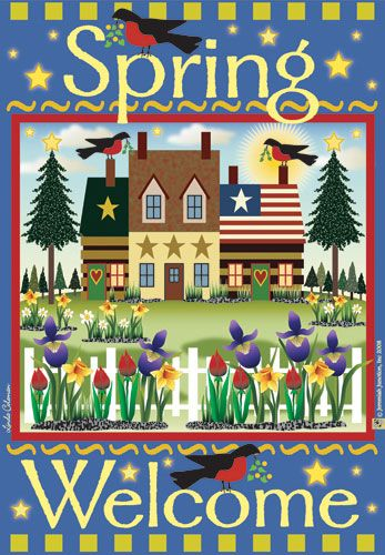Jeremiah Junction Flag - Spring Welcome Decorative Flag at Garden House Flags at GardenHouseFlags