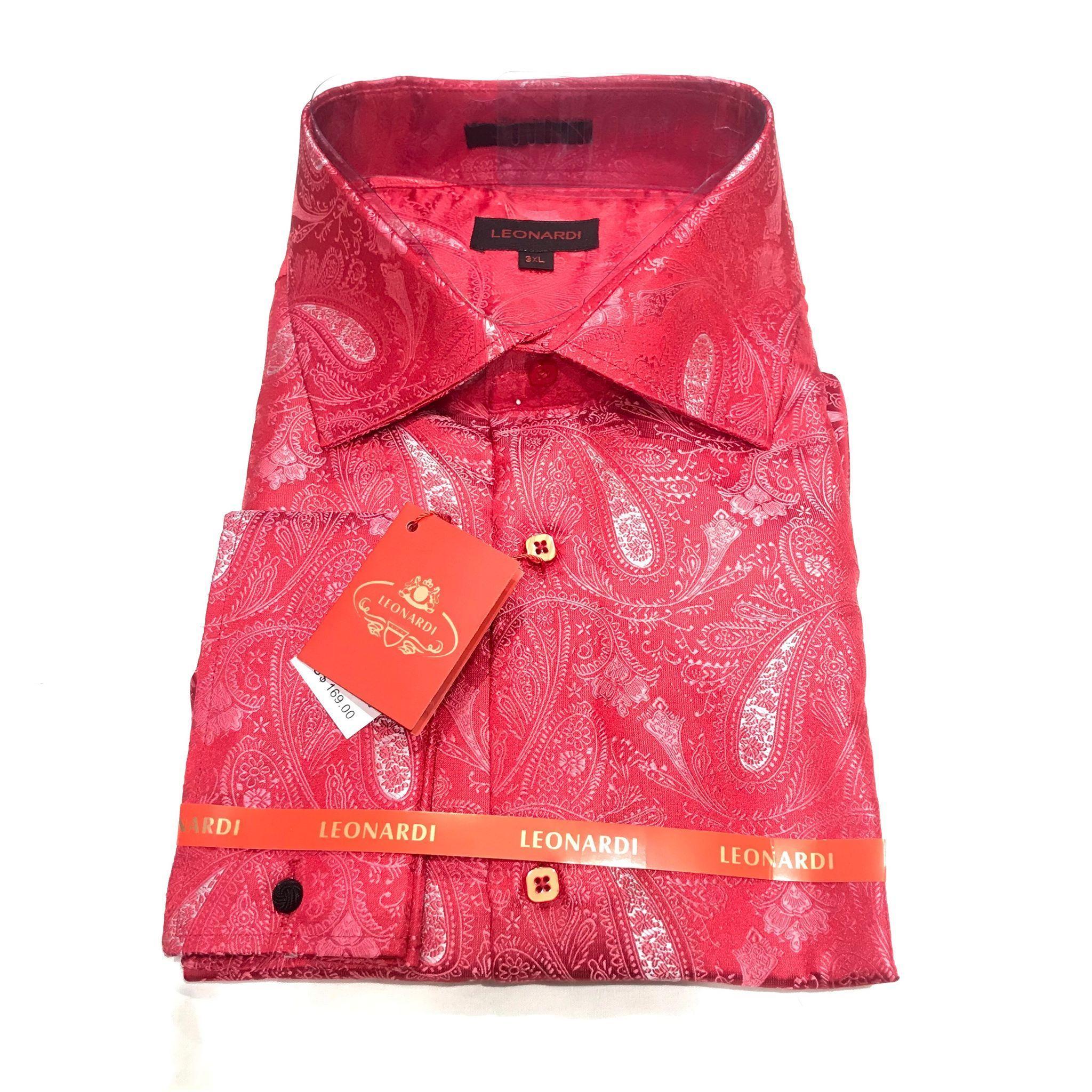 Mens Leonardi Dress Shirt Pink Paisley Pattern French Cuff Button Front