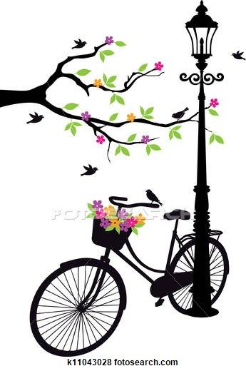 Bicycle With Lamp Flowers And Tree Clip Art K11043028 Imagenes De Bicicletas Ilustración De Bicicleta Pintura De Bicicletas