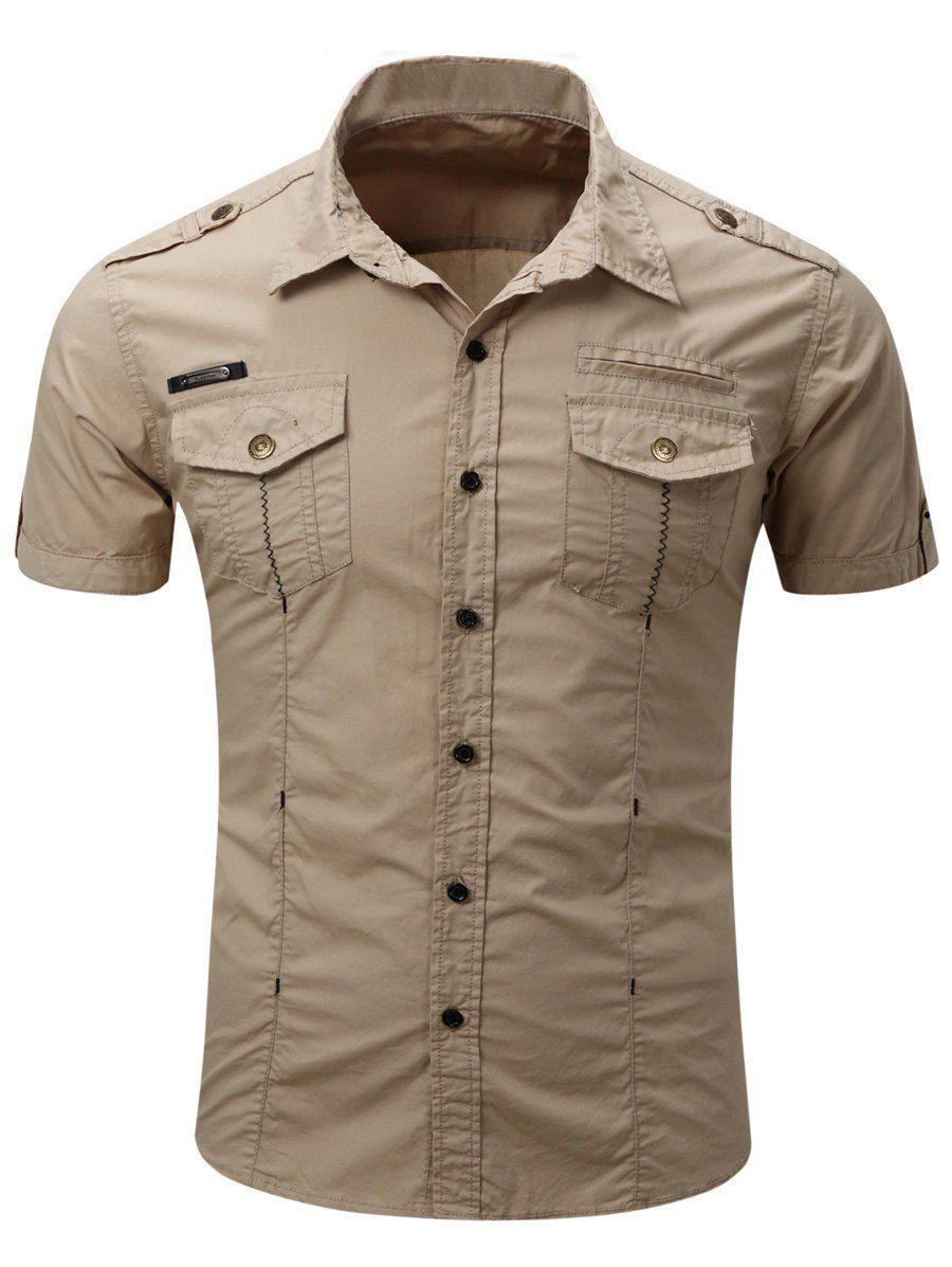 Shirt design with collar - Fashionable Turn Down Collar Pocket Design Men S Cargo Shirt