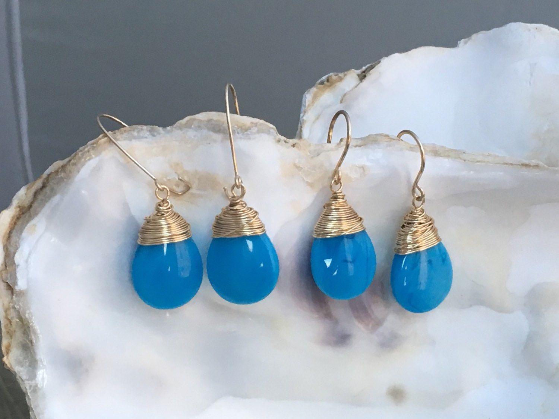 369 - Blue Pear Quartz Wire Wrapped Dangle Earrings in 14K 20 Gauge ...