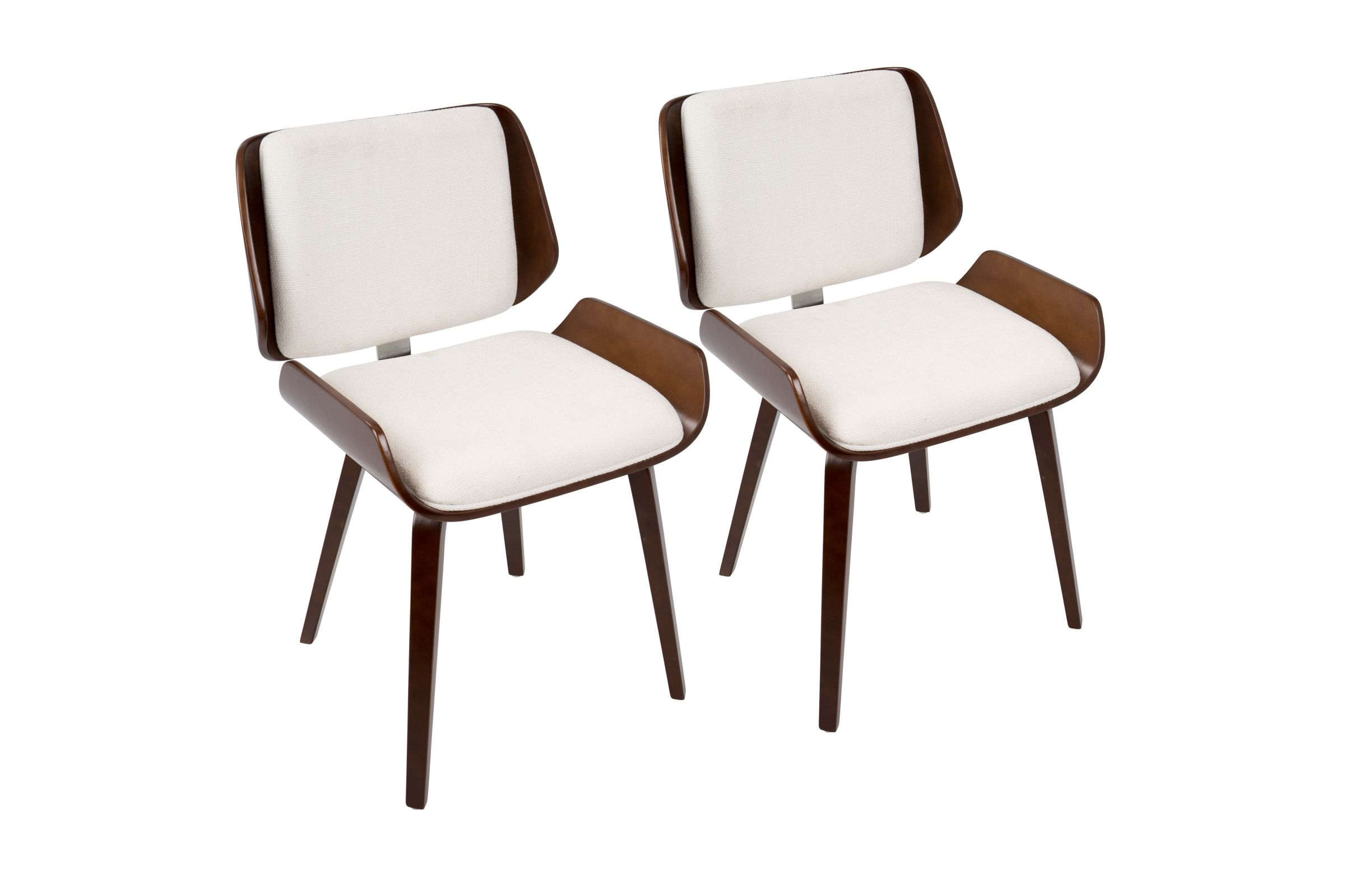 Santi Mid Century Modern Dining Chairs Set Of 2 In Cherry With