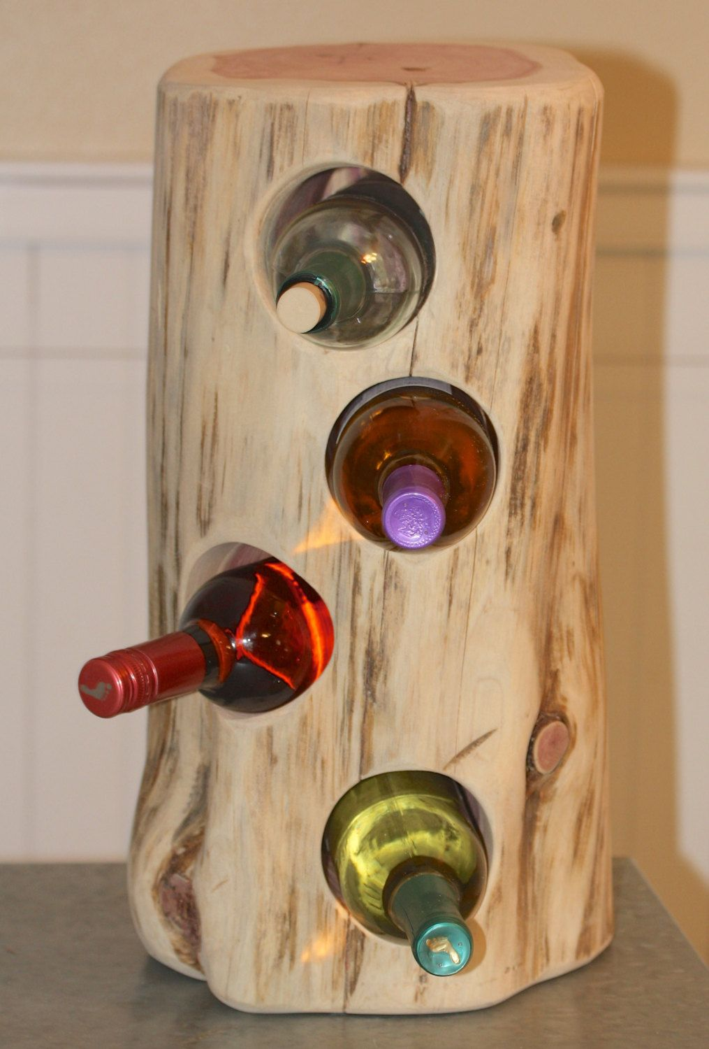 Rustic Wine Holder Cedar Tree Stump Holds 4 Bottles