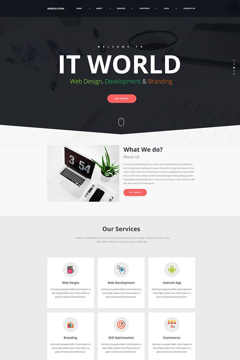 Web Solution Landing Page Template Landing Page Website Inspiration Webpage Design