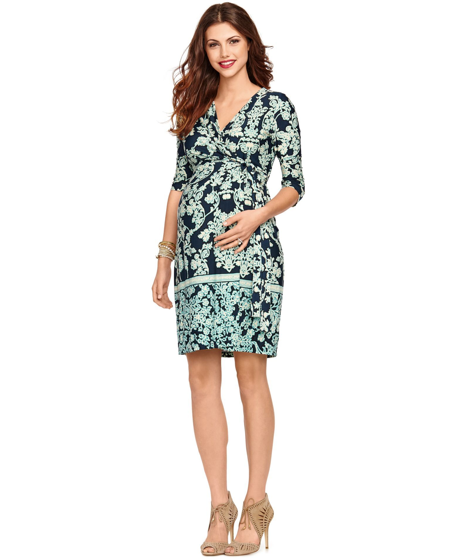 b8cd25e07b412 A Pea In The Pod Maternity Paisley-Print Faux-Wrap Dress   Products ...