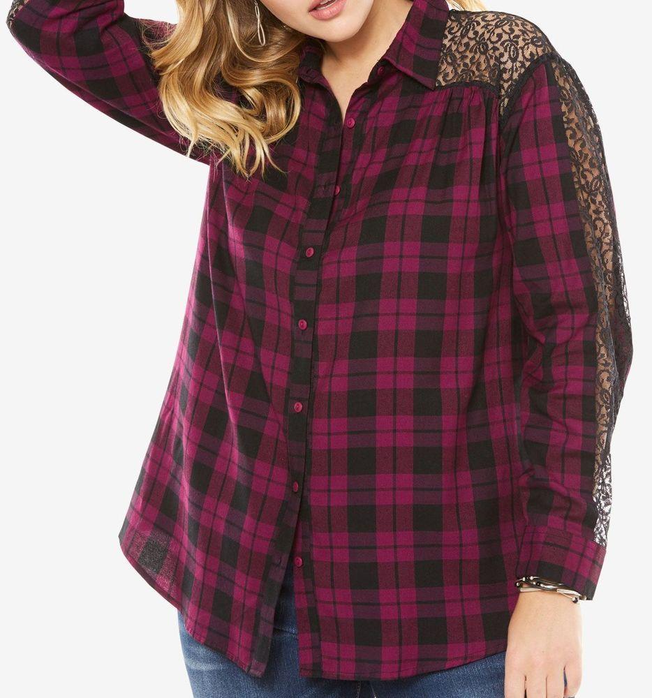 9104d5ce1984f Lace Sleeve Big Shirt in Fig by Denim 24 7 NWT 50% Off!  Denim247   ButtonDownShirt