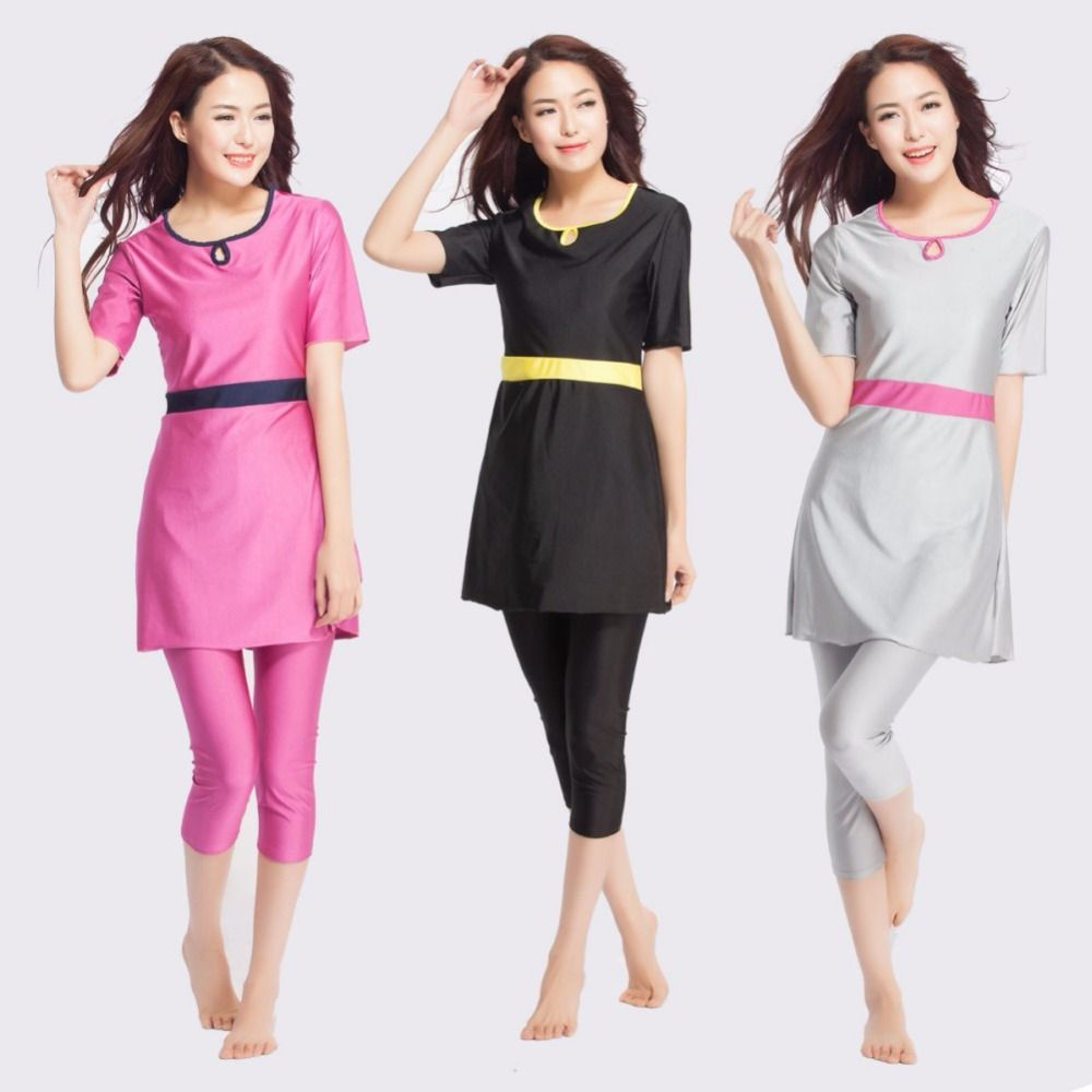 92c06b4f0bb  Free Shipping  Buy Best Muslim Swimwear Short Sleeve Female Bathing Suit  Two Piece Modest Swimsuits 3 Colors 7 Size for Women Lady Girls Online with  LOWEST ...