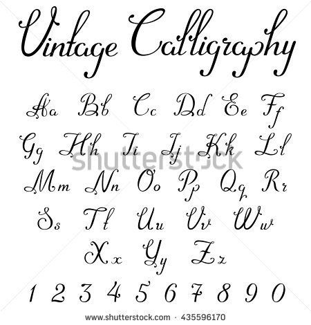 Stock Vector Vintage Calligraphic Script Font Linear