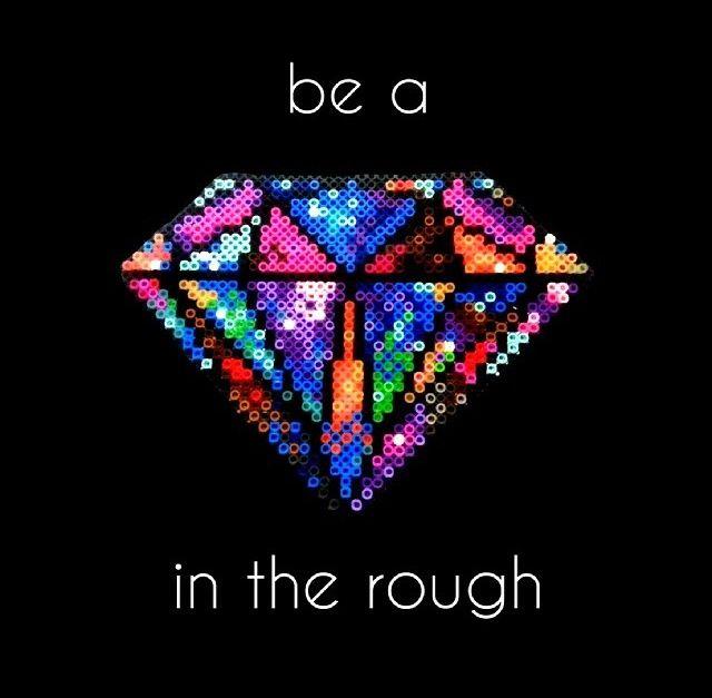 Beaded Diamond: Multicolored Diamond Perler Bead Pattern