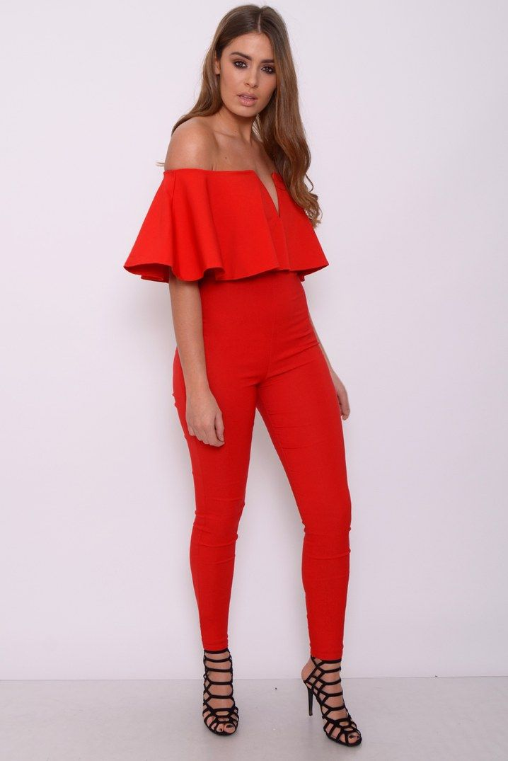 cec4a3084daf Red Frill Top Plunge Jumpsuit