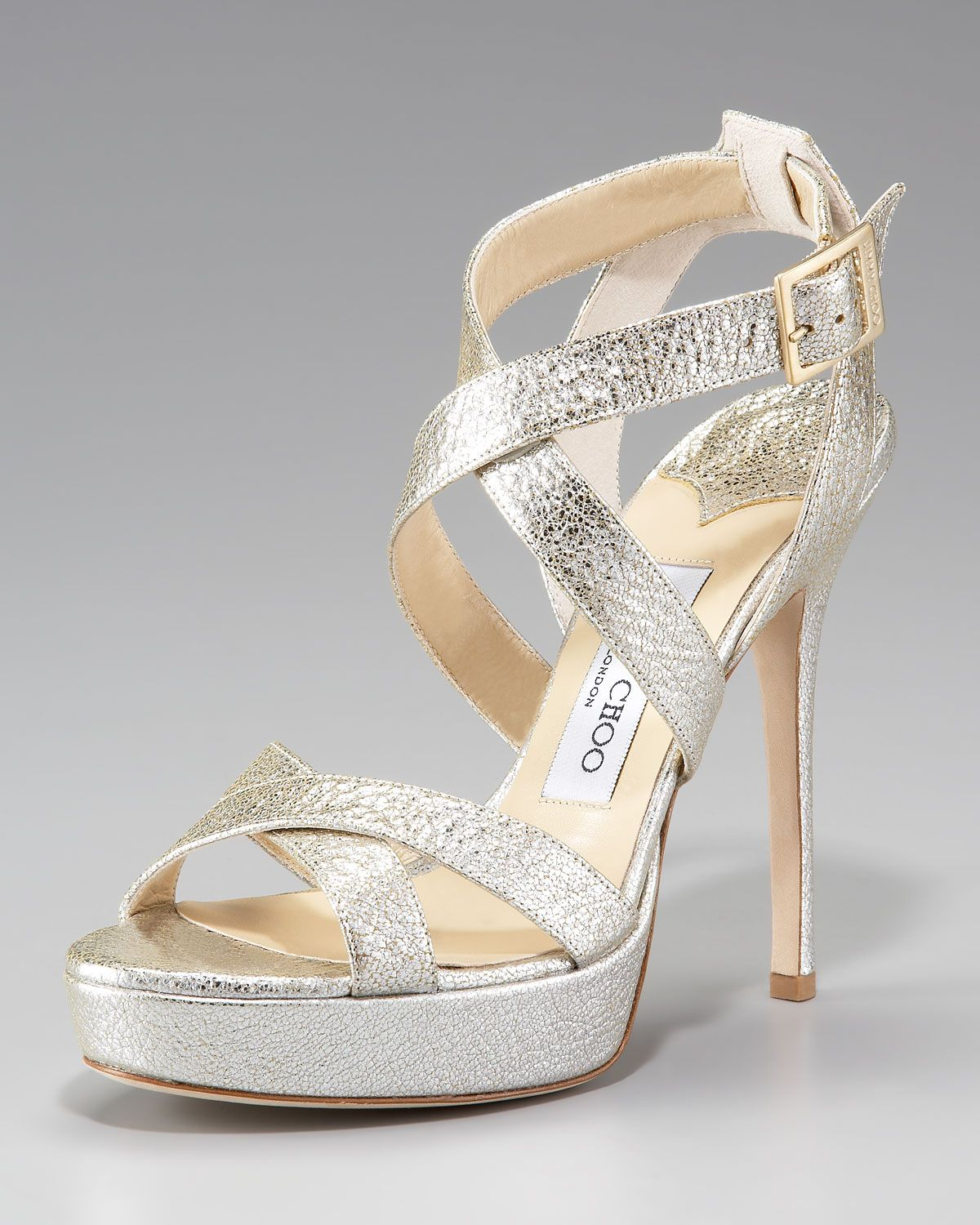 2a50de29e4e7 Jimmy Choo Vamp Crushed Metallic Platform Sandal in Gold (champagne ...