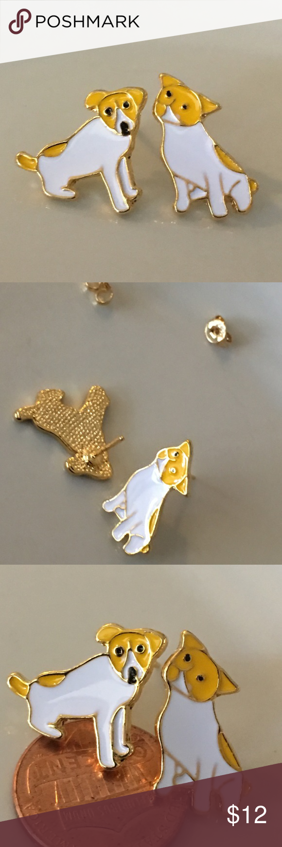 Enamel puppy dogs 🐕 yellow & white Boutique Dogs and
