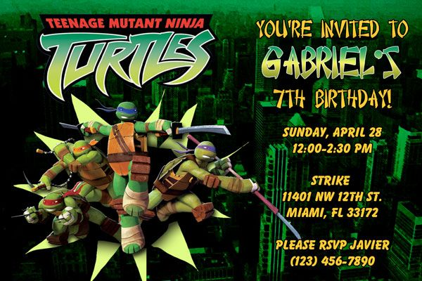 Teenage Mutant Ninja Turtles Birthday Invitation Free Turtle