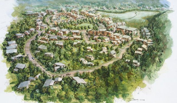 Road-split eco-village redrawn in clusters | Dissertation