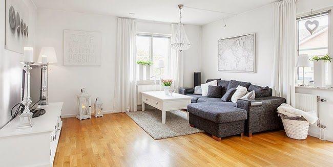 Un piso de estilo nórdico romántico en blanco y gris
