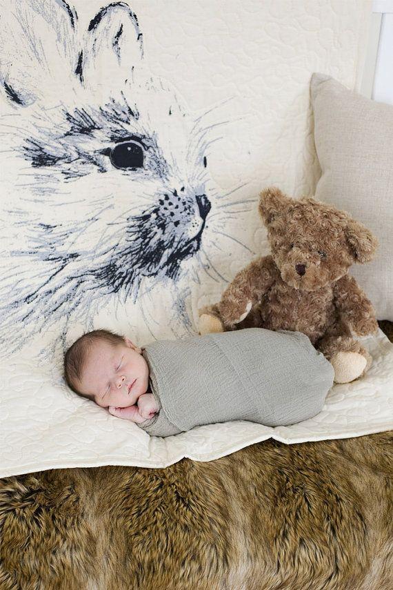 "Handmade Baby Quilt - baby bunny rabbit - crib/toddler quilt - 36""x45"" - bedding - velveteen rabbit"