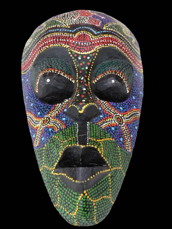 Reduced Indonesian Wood Face Mask Primitive Ceremonial Wall