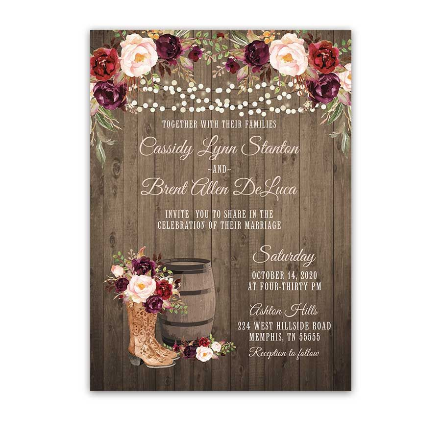 Cowboy Cowgirl Wedding Ideas: Western Wedding Invitation Cowgirl Boots Rustic Wine Blush