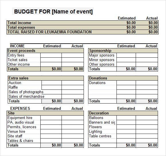 Fundraiser Event Budget Template