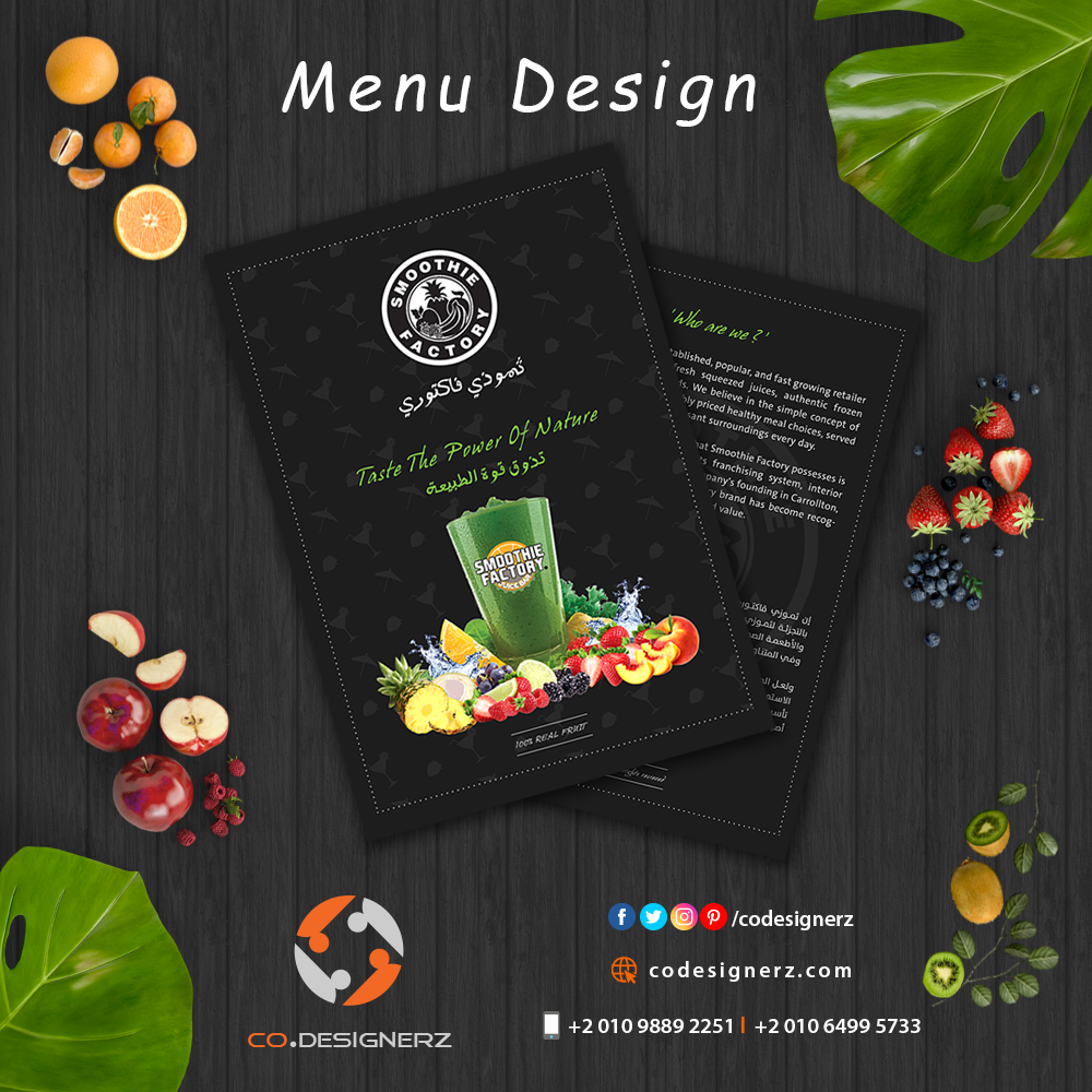 Get The Best Menu Design That Sets You Apart From Your Competition With The Best Professional Designers ان كان لديك مطعم ا Menu Design Smoothie Factory Design