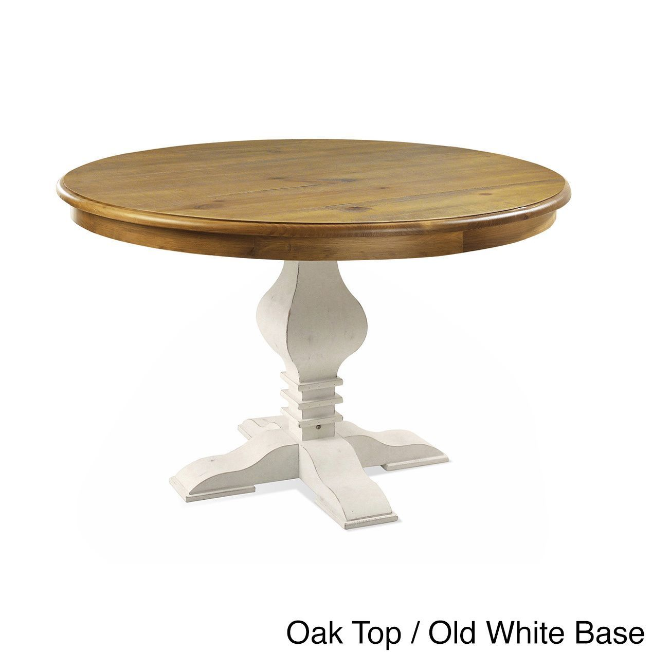 Artefama Tower Distressed 47 Inch Round Table Oak Color Top And Old White Base