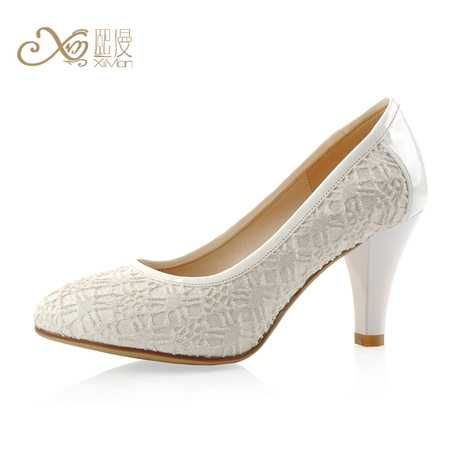2017 Korean White Lace Closed Toe Wedding Shoes For Bride 2 3 4 Inches Heel